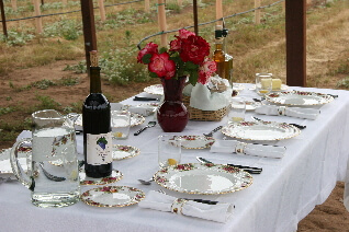 Pavilion table set for Gourmet Wine Pairing Luncheon