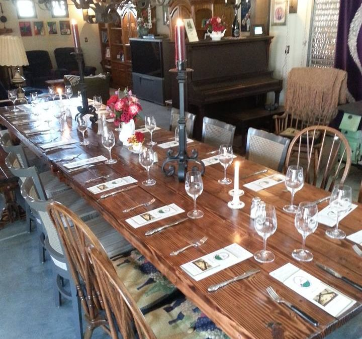 hatfield creek vineyards dining table in Tasting Room